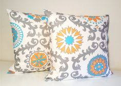 15% OFF SALE Throw Pillow Covers. Set of Two 20 x 20 Inches Cushin Covers. Orange, Turquoise, Grey Floral Dossett Rosa