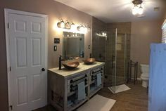 Beautiful custom double vanity!! This piece is made from northeastern white pine. It is extremely high quality and built to last! The listing price includes staining the color of your choice and sealing with polyurethane. This listing is for a piece that is 65 L x 22 D x 35 H,