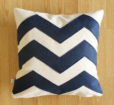 Chevron Navy - Decorative Pillow cover -Dark Blue - Natural Cream - Natural Fabric - Felt Applique - Home - 16 x16  - living room