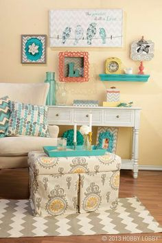 Cute Color scheme, possible wall color. Like the shelves and frames