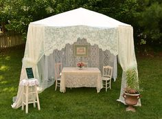 Artful Affirmations: garden tent made out of lace tablecloths, curtains, and a sheet