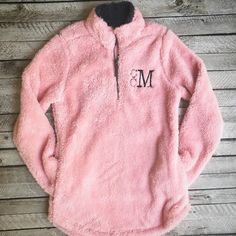 Monogrammed Sherpa Pullover Newport Fleece Quarter Zip Pullover... ($49) ❤ liked on Polyvore featuring outerwear, aqua and women's clothing