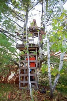 Tree house made from pallets and other scrap wood we put for Pallet tree fort