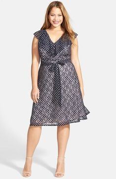 Adrianna Papell Print Ruffled V-Neck Fit & Flare Dress (Plus Size) available at #Nordstrom
