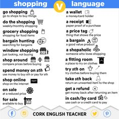 Shopping and Language Collocations by Cork English Teacher Grammar And Vocabulary, English Vocabulary, English Grammar, Teaching English, English Fun, English Study, English Lessons, English Phrases, Learn English Words