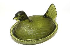 Indiana Glass Green Glass Hen on Nest Candy Dish - Mint