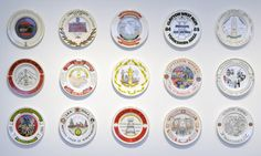 Martin Parr's collection of plates commemorating the 1984-85 miners' strike. Photograph: Colin Davison