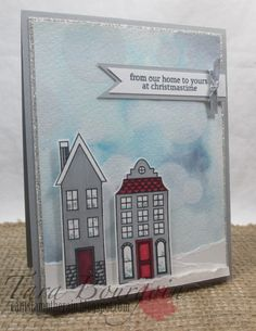 Holiday Home stamp set with matching framelits.  Can't Stamp the Rain: Bokeh technique for The Friday Mashup!