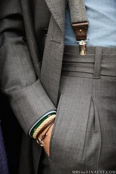 ' — Wrist Game & Suspenders Gentleman's Essentials Gentleman Mode, Gentleman Style, Sharp Dressed Man, Well Dressed Men, Classic Men, Classic Style, Looks Style, My Style, Hair Style
