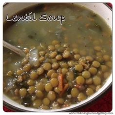 Lentil Soup. Making this for dinner tonight, along with some fresh bread made in my KitchenAid mixer.