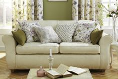 Inspired by the English home and gardens this collection is an enchanting study of garden flowers and countryside flora and fauna. Rooms Home Decor, Home Living Room, Living Room Designs, Living Room Decor, Curtain Patterns, English House, Drapery Fabric, Spring Colors, Love Seat
