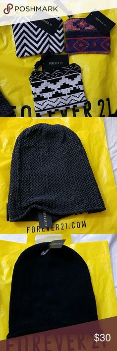 Forever 21 Awesome deal! 3 coin purses & 2 beanies ALL FOR $30  Grey slouchy waffle knit beanie Black beanie Forever 21 Other