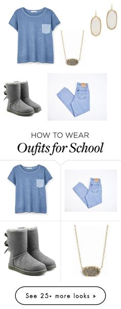 """School ???"" by lornaisabella on Polyvore featuring MANGO, Levi's, Kendra Scott and UGG Australia"