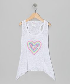 Loving this Happy Kids for Kids White Burnout Heart Racerback Tank - Girls on #zulily! #zulilyfinds