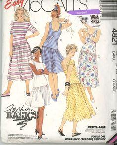 McCalls 4821 Sewing Pattern Drop Waist Summer Dress SZ 18-20 UnCut - Sewing Patterns