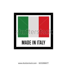 Made in Italy label for products vector illustration isolated on white background. Square exporting stamp with italian flag, certificate element