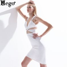 HEGO 2015 Free Shipping Women New Hot Deep V Neck Waist Hollow Out Summer Dress Backless With Factory Direct H1200