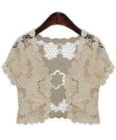Beige Short Sleeve Hollow Floral Crochet Top - Sheinside.com