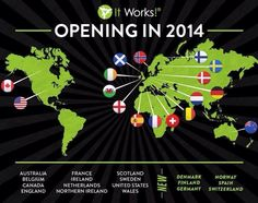 Itworks Global - a consumer wellness products and life style company - is making big plans for 2014 global expansion!  Itworks skin care and body contouring products are available February 1st in - Denmark (Danmark) - Germany (Deutschland) - Finland (Suomi) and - Spain (Espana)!  And in March: - Norway (Norge) -Switzerland (Schweiz)!  Be the first in your country to spread the word about those amazing, life changing products!