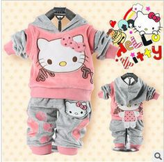 RETAIL baby 2piece suit set tracksuits Girl's Hello Kitty clothing sets velvet Sport suits hoody jackets +pants freeshipping $11.49