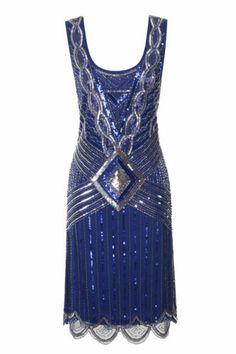 Blue Sequin Charleston Flapper UK 8 10 Gatsby Dress 20's Art Deco Silver | eBay
