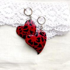 black with red  pattern hearts clips  heart earrings by OPStyle, $10.00