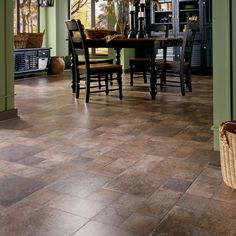 The stylish look of natural stone flooring can be yours at a fraction of the cost with this beautiful Innovations Tuscan Stone Terra Laminate Flooring. Laminate Flooring, Kitchen Flooring, Hardwood Floors, Kitchen Redo, Kitchen Remodel, Room Kitchen, Kitchen Dining, Kitchen Ideas, Flooring Options