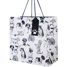 Dogs large gift bagLarge Dog Gift bag Size: 280 x 280mm x 140mm when open Double blue rope handles and paw print cut out tag. Manufactured by Deva Designs LtdCards and Gift Wrap