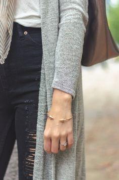 cozy long cardigan + willow and park arrow bracelet + distressed denim