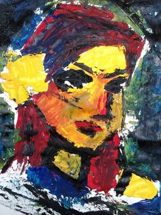 A unfinished portrait painting of a friend from college that was inspired by Frank Aubach