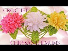 Como tejer flores fácil y rápido en una sola tira con hojas - How to make knitting crochet flowers - YouTube