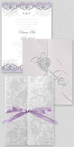 Love this Classic and elegant lavender wedding invites. I love the Heart Key.