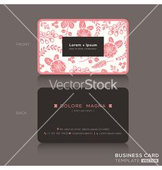Cute business card pink floral pattern background vector  by kraphix on VectorStock®