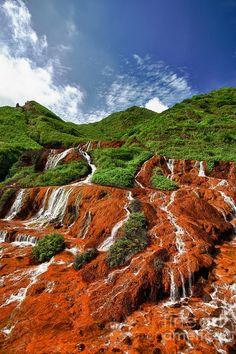 Landscape Jinguashi Golden Waterfall Canvas Print / Canvas Art by Fototrav Print Taiwan Travel, China Travel, Beautiful Waterfalls, Beautiful Landscapes, Beautiful World, Beautiful Places, Beautiful Sites, Amazing Places, Dubai