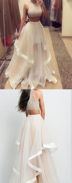Two Pieces Real Made Prom Dress,Charming Formal Dresses,A-Line Beading Evening Dresses,prom dress long
