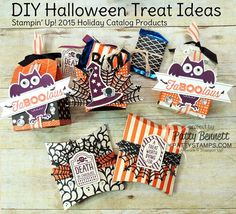 DIY Halloween treat box ideas featuring Stampin' UP! Happy Haunting paper, pillow box die, baker's box die and french fry box!