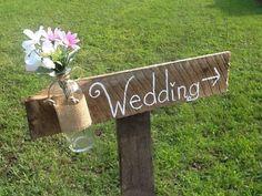 Rustic wedding sign, mason jar wedding sign, wooden wedding signage