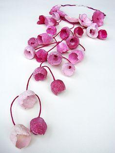 Eco friendly paper jewelry Cascade, statement Necklace, bib necklace boho, natural, floral style . Paper jewels, eco design. Gioielli di carta, collana con fiori  by Alessandra Fabre, €150.00