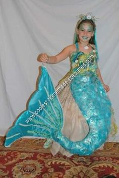 Homemade Mermaid on a Rock Unique Halloween Costume Idea: This year for Halloween, my daughter wanted to be a mermaid on a rock. I have been making costumes for my kids for a few years now, but this was by far