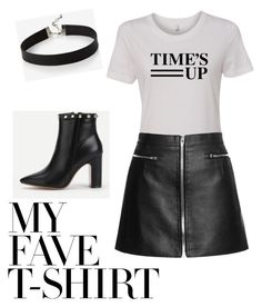 """Dress up a tee with leather"" by klove2814 on Polyvore featuring Express and MyFaveTshirt"