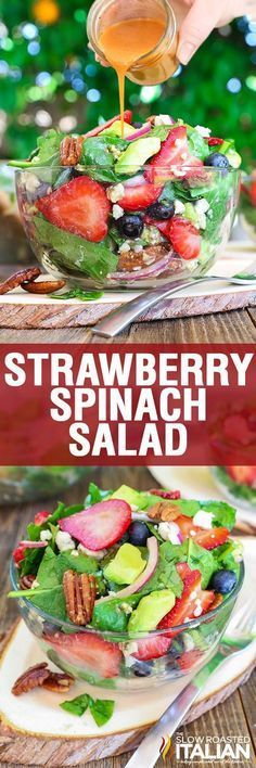 Best Ever Strawberry Spinach Salad will rock your world! This simple recipe is a celebration of summers bounty in the most spectacular salad you will ever eat. Fresh crisp spinach salad is taken to another level with bursts of sweetness from fresh summer fruit and buttery avocado. It is tossed in a sweet and tangy vinaigrette and topped with crunchy nuts and creamy cheese.