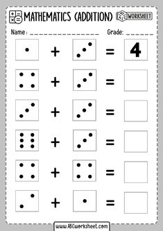 Free Printable Dice Addition Worksheets for Kids