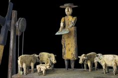 Folk Art at american-artists.com  Lady Feeding Sheep Whirligig Circa 19th Century by Steve Hazlett.....everyone who loves sheep folkart will love this!