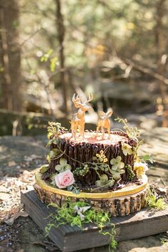 Rustic Wedding Cake with Golden Deer Cake Toppers | Convey Photographers on @artfullywed via @aislesociety