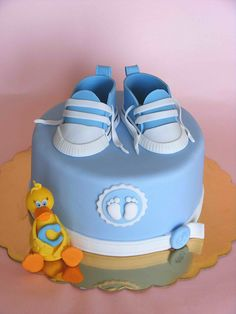 Blue baby sneakers cake | Flickr - Photo Sharing!