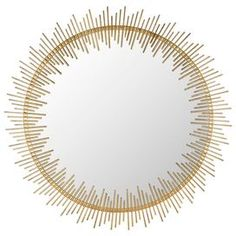 "Showcasing a sun ray-inspired iron frame and antiqued gold finish, this delightful wall mirror adds a touch of luxe appeal to your living room or master suite.  Product: Wall mirrorConstruction Material: Iron and glassColor: Antiqued gold frameFeatures: Sun ray-inspired silhouetteDimensions: 30"" Diameter x 1.5"" D"