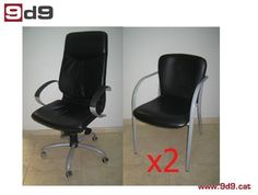 Conjunto de DOS sillas de segunda mano, confidentes de estructura metálica color gris y asiento tapizado en piel sintética negra. PVP: 90€ por las DOS sillas.