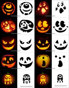 290 Free Printable Halloween Pumpkin Carving Stencils Patterns Designs Faces & Ideas Source by trendytree Citouille Halloween, Courge Halloween, Scary Halloween Pumpkins, Adornos Halloween, Halloween Designs, Halloween Disfraces, Halloween Patterns, Halloween Labels, Printable Pumpkin Stencils