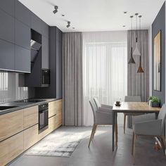 Modern Kitchen Design 44 m - Галерея Kitchen Room Design, Kitchen Sets, Modern Kitchen Design, Home Decor Kitchen, Modern Interior Design, Interior Design Living Room, Home Kitchens, Living Room Decor, Gold Kitchen