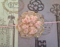 Pink and Gold Shabby Chic Glam Flower Headband READY TO SHIP by GirlyBowsandThings on Etsy